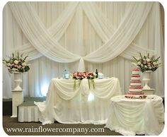 white and pink white drapes window treatment scarves wedding decor head table