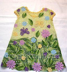 TRICO and crochet-madonna-mine: Dresses for girls crochet Russian Spectacular Irish Crochet Tutorial, Irish Crochet Patterns, Crochet Girls, Crochet For Kids, Freeform Crochet, Crochet Lace, Pinterest Crochet, Baby Girl Patterns, Irish Lace