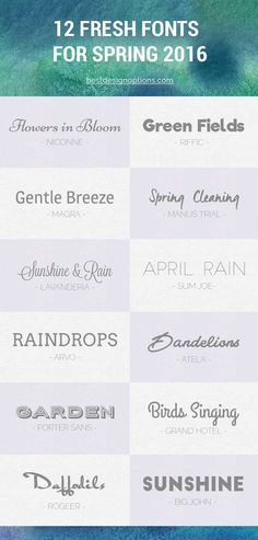 Here are 12 free fonts perfect for creating lovely designs for Spring holidays. Includes free script and brush fonts, modern and geometric fonts, etc.