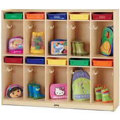 Jonti-Craft's Take Home Center Locker is a complete organization center for your students.  This compact Baltic birch locker has 10 sections, each with two double coat hooks for coats and backpacks. Above each section is a paper tray cubby for storing homework and completed projects (trays not