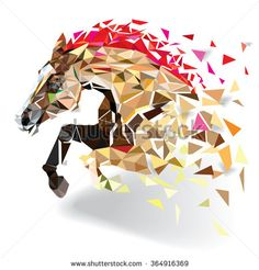 Ambesonne Horse Abstract Art Wild Animal Shower Curtain Set Size: H x W Geometric Art, Geometric Patterns, Design Patterns, Abstract Styles, Abstract Art, Doodle Drawing, Polygon Art, Animal Tattoos, Horse Tattoos