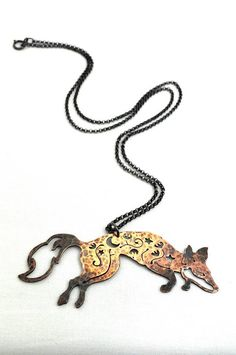 Woodland Fox Necklace / Moon And Stars Design