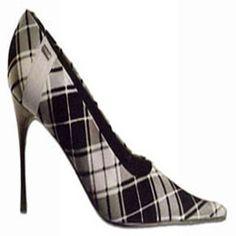 black & white plaid stilettos