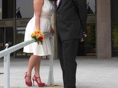 hot pink suede platform stilettos (Ivanka Trump). vanilla dress (Ellen Tracy) (city hall wedding ideas)