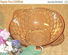 Pink Glass Bowl Diamond Pattern Art Deco Vintage 1930's