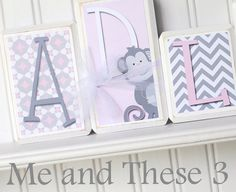 Wood letter name block-Custom to your style-pink by meandthese3