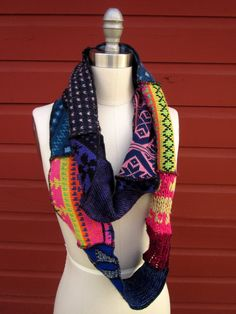 bohemian recycled sweater scarf