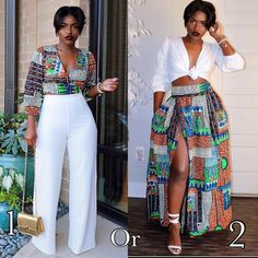 ankara stil Same Print, Styled differently 1 or 2 guys? We love how the beautiful mixed and match this beautiful Ankara set African Fashion Ankara, African Print Fashion, African Wear, African Dress, African Style, African Jumpsuit, African Outfits, African Clothes, African Design