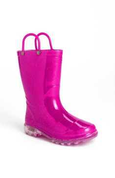 Hot Pink Glitter Rain Boots for Kids from Western Chief - like our girls wouldn't flip for these.