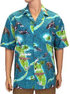 b7ca48676 Men's Sunshine State Design Cotton Aloha Shirt #410-3692 Mens Hawaiian  Shirts, Hawaii