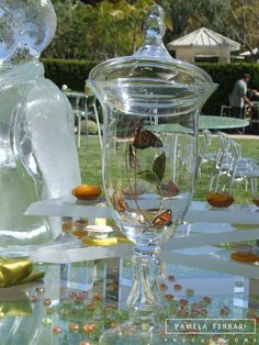 Glass centerpiece with butterflies inside! Glass Centerpieces, Corporate Events, Event Design, Tablescapes, Event Planning, Butterflies, Table Decorations, Crystal Centerpieces, Corporate Events Decor