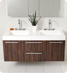 Fresca FVN8013GW Opulento 54 Inch Walnut Modern Double Sink Bathroom Vanity w/ Medicine Cabinet
