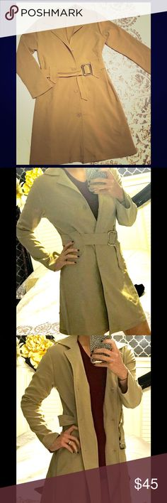"Classic trench coat/duster Never worn, perfect condition. No tag so I'm not sure of the size but I'm 5""4' 120lbs and it's an okay fit. Would look better on someone with a little more curves IMO. Jackets & Coats Trench Coats"