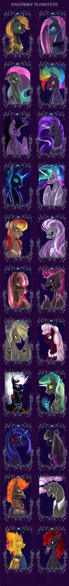 Nightmares in equestria by ElkaArt << Do I see Raven....? :3 (third up from the bottom on the left)