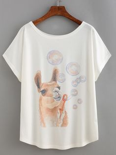 Shop Alpaca Print T-shirt online. SheIn offers Alpaca Print T-shirt & more to fit your fashionable needs.