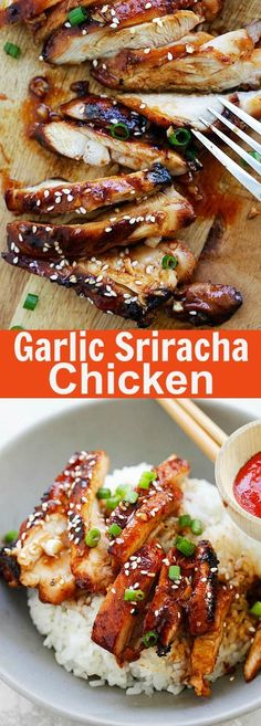 Garlic Sriracha Chicken - the juiciest oven baked chicken recipe with a mouthwatering Garlic Sriracha marinade. This recipe takes only 10 minutes active time. A healthy and family-friendly chicken dinner. Sriracha Chicken, Oven Baked Chicken, Baked Chicken Recipes, Turkey Recipes, Dinner Recipes, Balsamic Chicken, Roasted Chicken, Breaded Chicken, Grilled Chicken