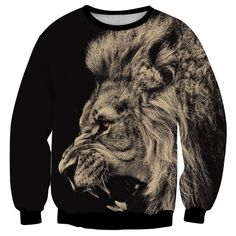 New Men's Sweatshirt Big Lion Animal Print 3D Clothing Cool Sudaderas Hombre Jacket Fashion Design Sweats Tops Homme Hoodies #Affiliate