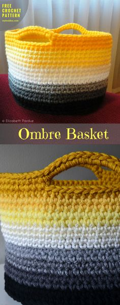 "#OmbreBasket #FreeCrochetPattern #CrochetBasket Container, | size: high 9,5"" in diameter 12"" 