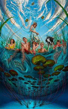 art trippy lake painting sky creative water underwater clouds colorful surrealism tripping surreal trippin psychadelic swamp creative art trippin balls point of view trippy art psychadelic art colorful art lilly pad Foto Fantasy, Fantasy Art, Pintura Graffiti, Psychadelic Art, Lake Painting, Art Watercolor, Psy Art, Poses References, Hippie Art