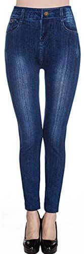 Blostirno Womens Sexy Jeggings High Waist Denim Print Leggings with Pocket
