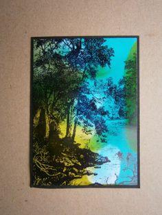 Eva´s Kreatives: Landschaften. AAI auf Folie und Glossycard durchziehen.  Ein toller Effekt