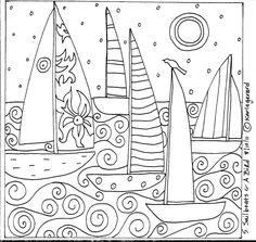 Rug Hook Paper Pattern 5 Sailboats A Bird Folk Art Abstract Primitive