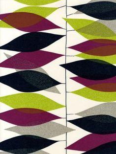 Sanderson - Miro (1950s Wallpaper) - love the color combination. Quilt colors or appliqué shapes/colors.