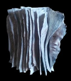 Indoor figurative #sculpture by #sculptor Paola Grizi titled: 'Book and Faces (abstract Contemporary faces Heads Indoor sculpture statue)' #art