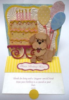 Adorable die-cut pop-up card with dog, balloons & cake...