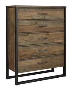 Sommerford Reclaimed Pine Solid Wood Five Drawer Chest with Metal Frame by Signature Design by Ashley at Gill Brothers Furniture Brown Dresser, Dresser With Mirror, 5 Drawer Chest, Chest Of Drawers, Bedroom Posters, Rustic Elegance, At Home Store, Signature Design, Bedroom Sets