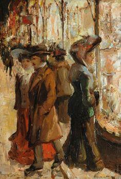 Etalages kijken bij avond in de Venestraat in Den Haag - Franciscus Willem 'Franz' Helfferich (1871-1941).