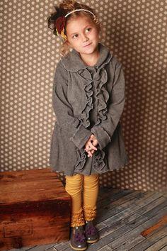 Mack and Co. - Girls Charcoal Ruffle Coat Fall 2012