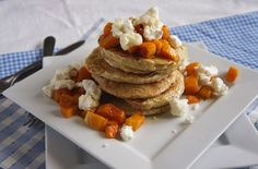 Quinoa pancakes with squash and goat cheese