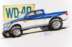 Chip Foose Drawings and Sketches | Chip Foose created a rendering of the WD-40/SEMA Cares Foose Ford F ...