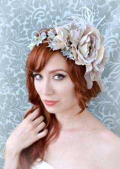 Bridal fascinator lavender flower crown wedding by gardensofwhimsy