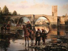 El General Savalls dando órdenes en Besalú, Gerona. Cuadro de Ferrer Dalmau