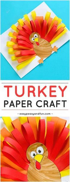 Cute Paper Turkey Craft for Kids. Fun Thanksgiving or Fall activity for kids to make.