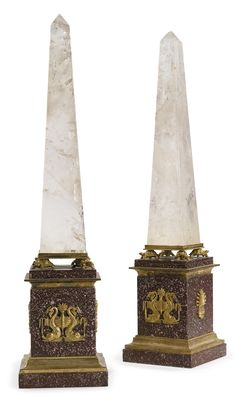 A pair of Italian Neoclassical style ormolu-mounted rock crystal and porphyry obelisks<br>19th century | Lot | Sotheby's