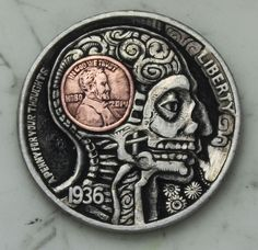 "'Penny For Your Thoughts"" Hobo Nickel by John Schipp, Harpuahound.  Microscopic words, amazing!"