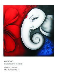 Ganesha Paintings on Canvas Lord Ganesha Paintings, Lord Shiva Painting, Ganesha Art, Krishna Painting, Easy Canvas Art, Acrylic Painting Canvas, Mini Canvas, Canvas Paintings, Acrylic Art