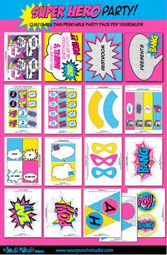 Abigail's 4th - Birthday SUPERHERO GIRL Pink Printable Party Package YOU by SourPunchStudio. , via Etsy.