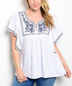 Another great find on #zulily! White Embroidered Cape-Sleeve Top - Plus #zulilyfinds