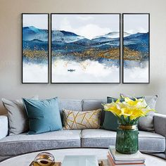 3 pieces Original blue mountain And Water Acrylic Painting On Canvas art Picture wall art Decor cuadros abstractos Home decor Acrylic Painting Canvas, Painting Frames, Painting Prints, 3 Canvas Painting Ideas, Acrylic Art, Abstract Canvas, Frames On Wall, Framed Wall Art, Wall Art Decor
