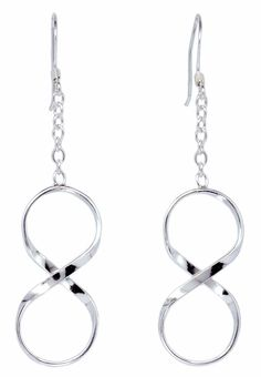 Infinity link Chain Drop Sterling Silver Dangle Earrings for Women [ISE0037] #BKGjewelry #DropDangle