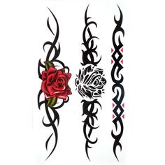 Only the best free Red And Black Gothic Rose Tattoo On Side tattoo's you can find online! Red And Black Gothic Rose Tattoo On Side tattoo's to print off and take to your tattoo artist. Tribal Tattoo Designs, Tribal Rose Tattoos, Fake Tattoos, Flower Tattoo Designs, Temporary Tattoos, Body Art Tattoos, Wrist Tattoos, Tatoos, Rose Tattoo On Side