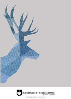 Elk Silhouette Blue & Gray  Print Boys Nursery by MaidservantOf, $5.00