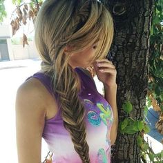 Side Braid Fishtail ❤ liked on Polyvore featuring beauty products, haircare, hair, hairstyles, hair styles, cabelos and beauty