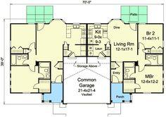 Ranch Duplex - 57281HA   Architectural Designs - House Plans