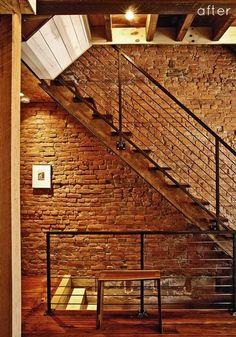 Escalier acier bois et brique