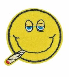 Smoking Smiley Face Embroidered Patch Iron On Marijuana Weed High Pot Applique #Embroidered